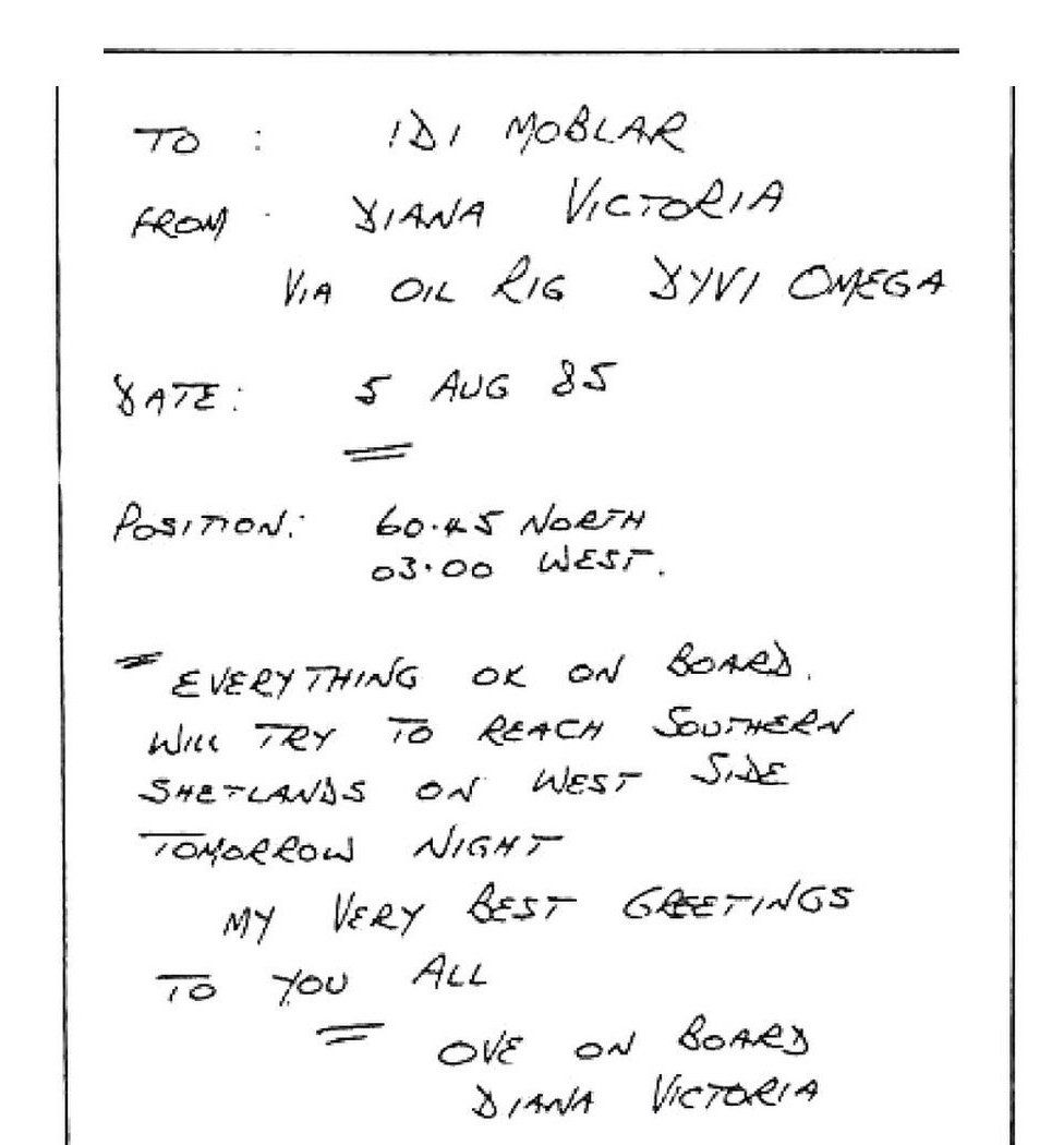 """A telegram written by Ove Joensen written from an oil rig near Shetland in 1985 - it reads, """"Everything OK on board. Will try to reach Southern Shetlands on west side tomorrow night. My very best greetings to you all. Ove on board the Diana Victoria."""""""