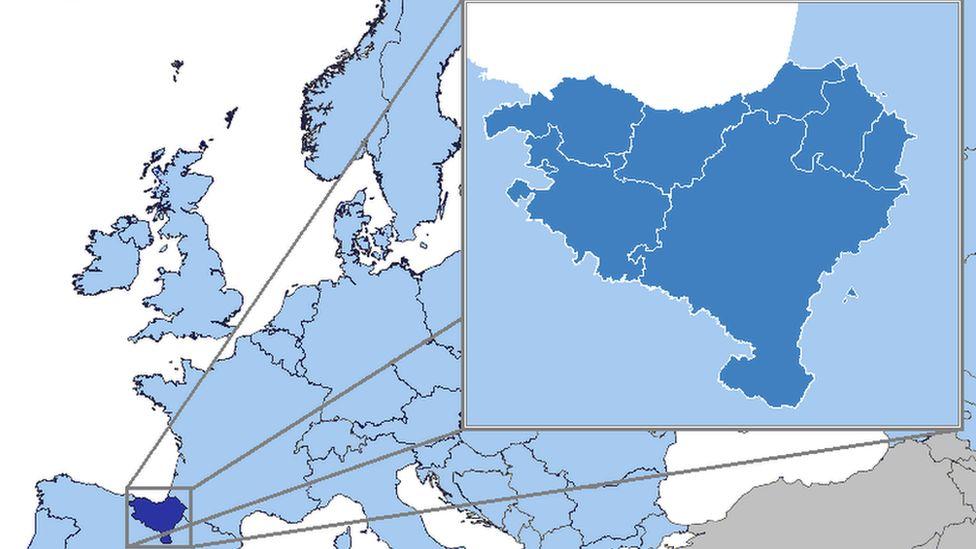 Gwlad y Basg, sydd ar arfordir Bae Biskaia