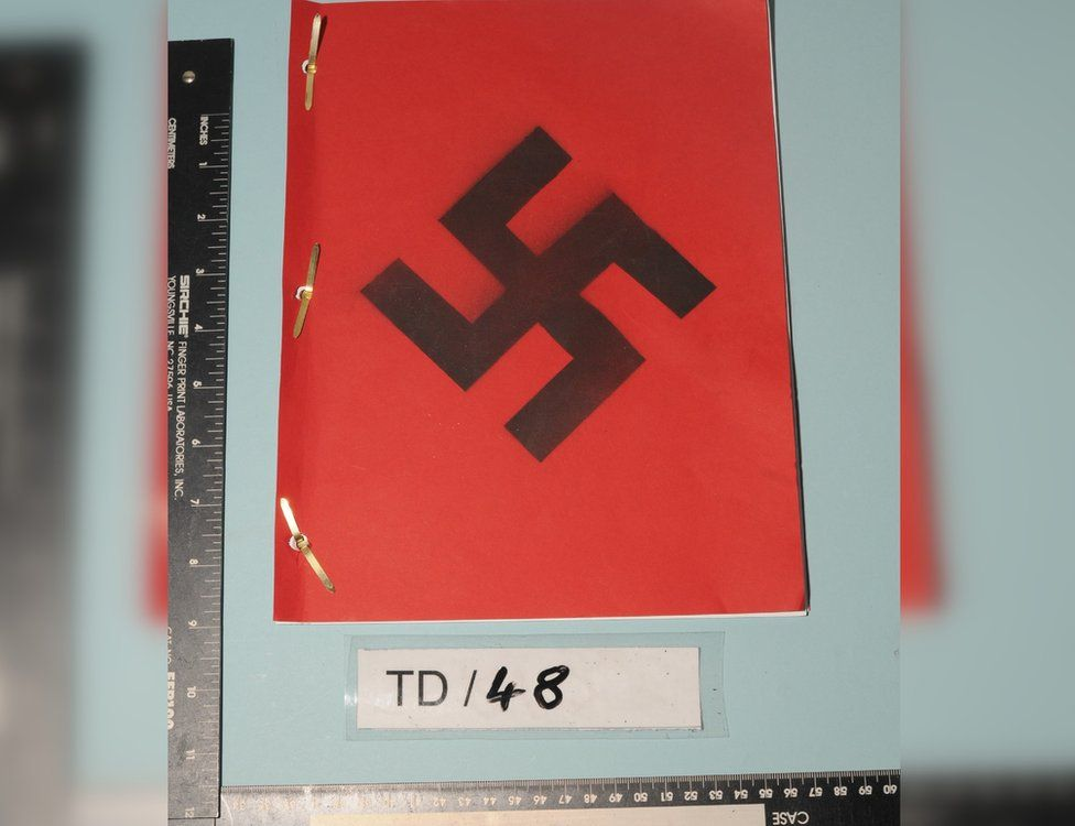 A document with a swastika