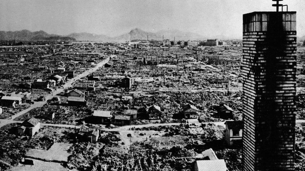 Hiroshima after an atomic bomb
