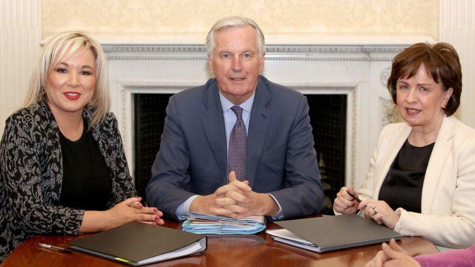 Michelle O'Neill, Michel Barnier and Diane Dodds
