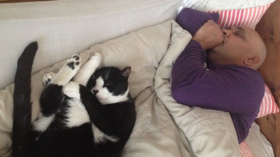 Bones the cat sleeping with his owner on the bed