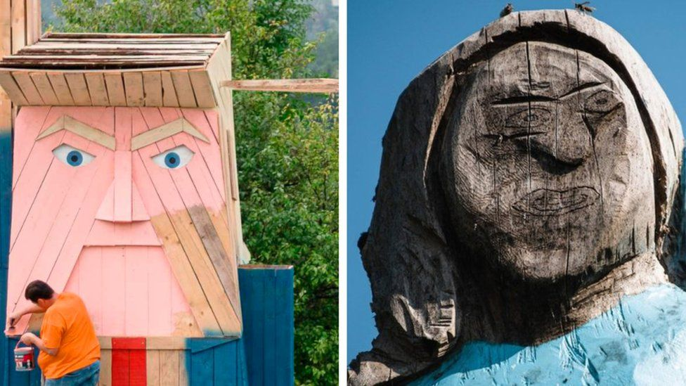A composite picture shows the wooden statue of Donald Trump (left) next to the statue of Melania.