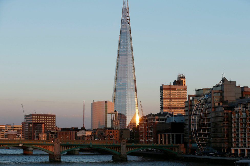 The Shard in London as seen at dusk