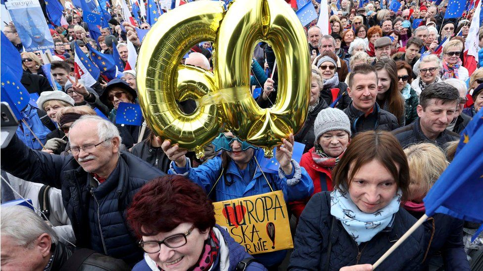 "People attend a march called ""I love Europe"" to celebrate the 60th anniversary of the Treaty of Rome in Warsaw, Poland March 25, 2017"