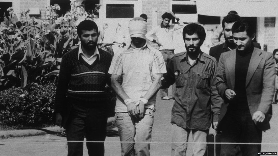US hostages paraded outside the US embassy in Tehran