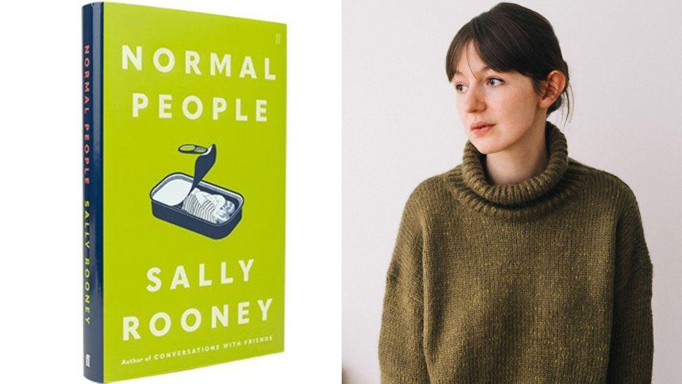 Sally Rooney beside the cover of her novel