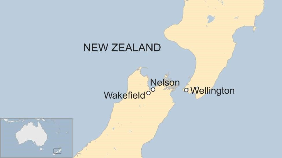 Map of New Zealand towns Nelson and Wakefield
