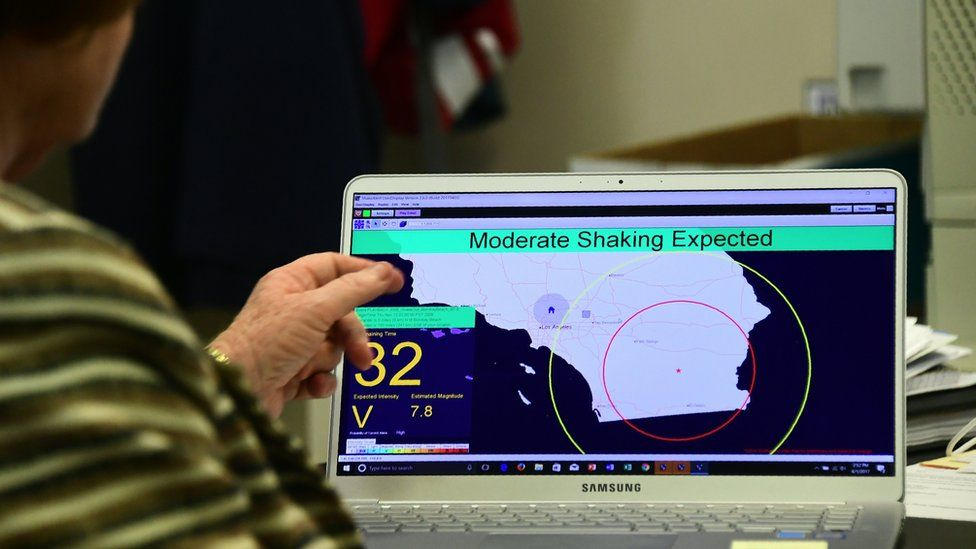 A computer screen showing an interface with the ShakeAlert warning system. A message says 'moderate shaking expected'