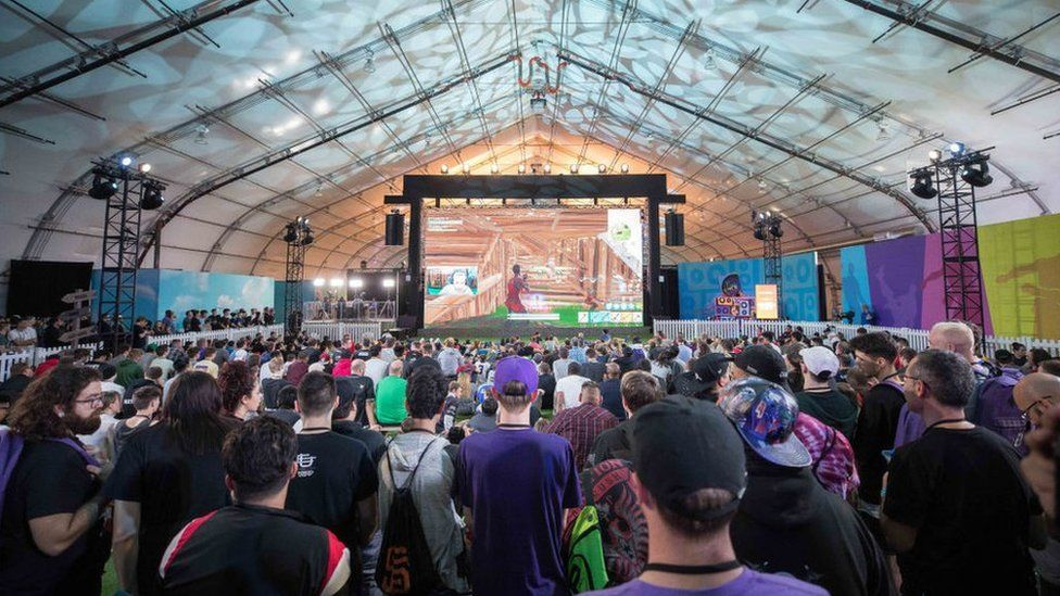Crowd of fans watching Fortnite competition at TwitchCon, San Jose Convention Center on October 26, 2018 in San Jose, California