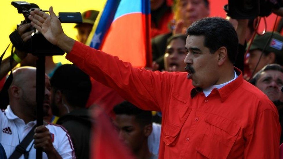 President Nicolás Maduro addresses his supporters at a rally in Caracas. Photo: 1 May 2019