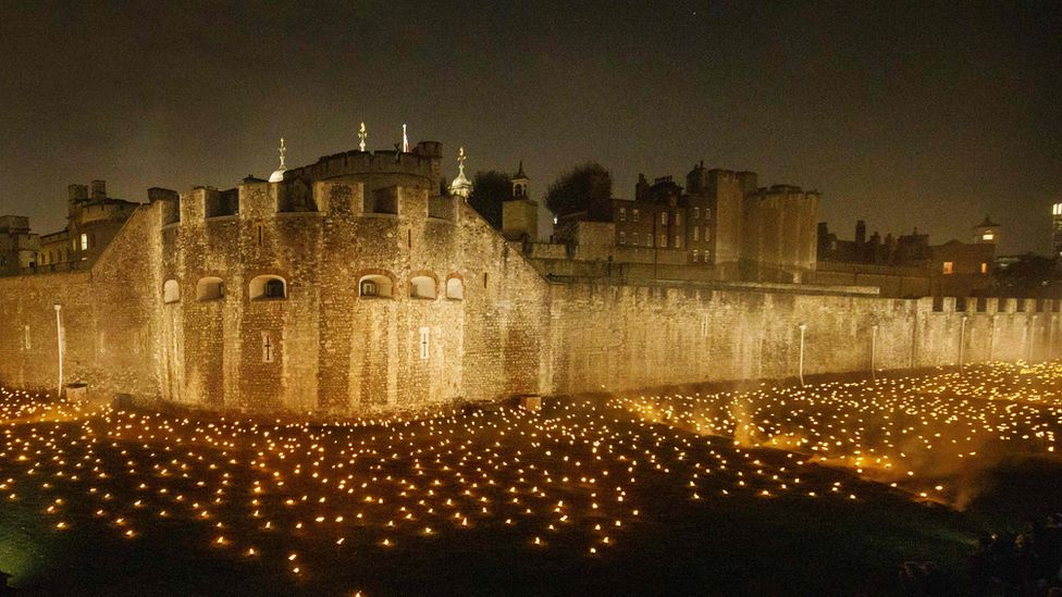 Thousands of torches lit up the moat of the Tower of London to mark one hundred years since the end of the war