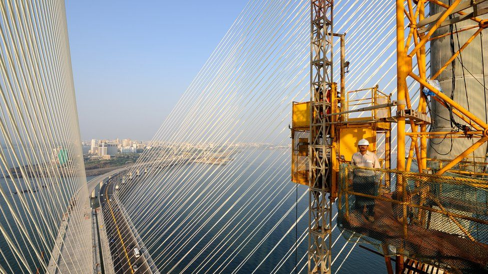 The Rajiv Gandhi Sea Link Project in Mumbai. The Rajiv Gandhi Sea Link Project, also known as the Bandra Worli Sea Link (BWSL), is a cable-stay bridge which connects the Bandra and Worli neighborhoods of Mumbai on April 14, 2010 in Mumbai, India