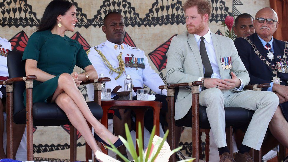 Meghan and Prince Harry at the unveiling of the Labalaba Statue in Nadi, Fiji
