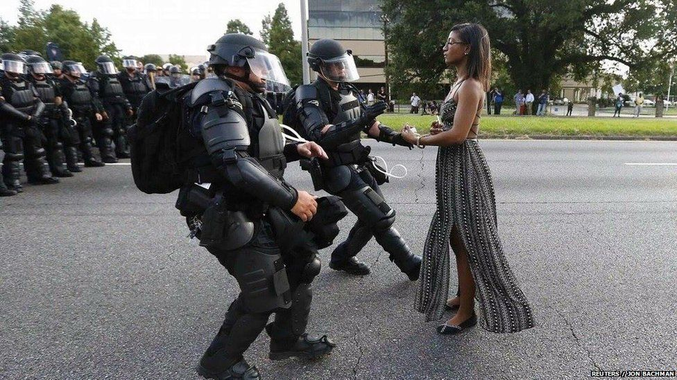 Ieshia Evans faces armed police