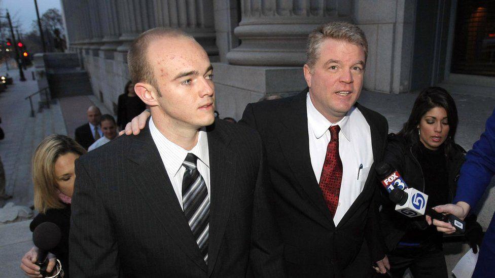 Slatten walks with his attorney in Utah