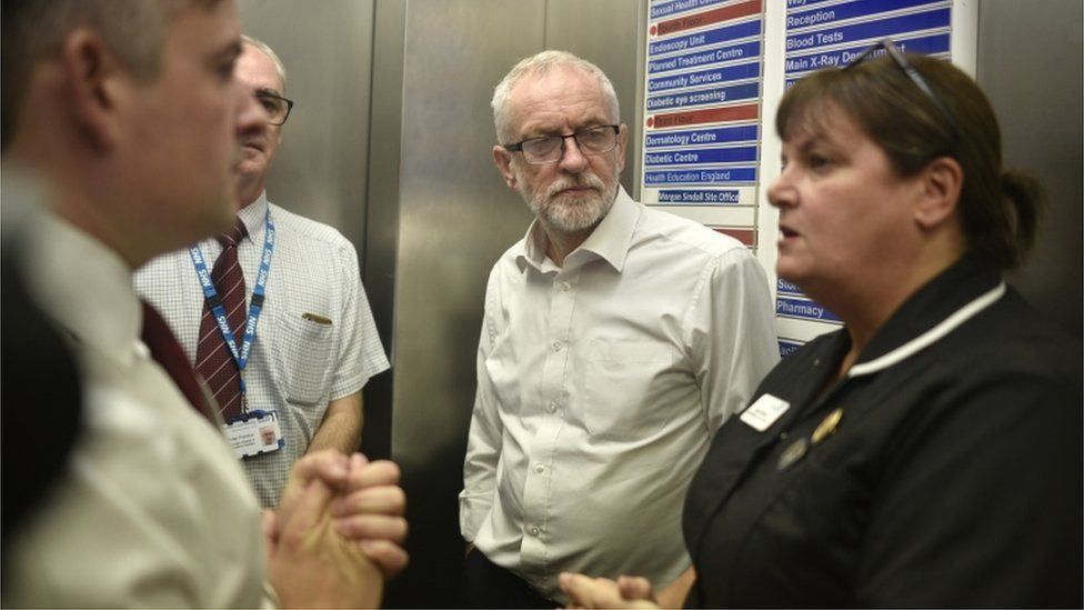 Jeremy Corbyn with NHS staff
