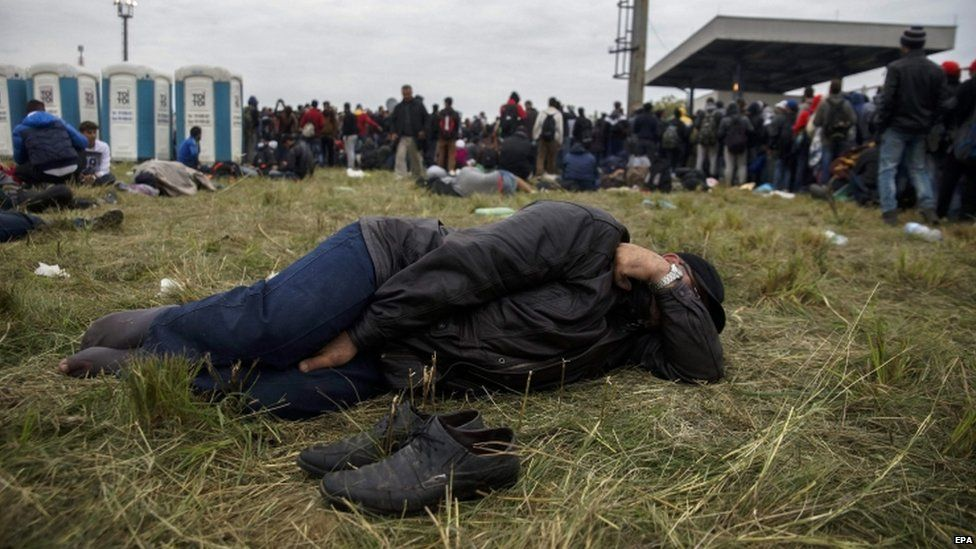 A migrant sleeps on the grass in Croatia