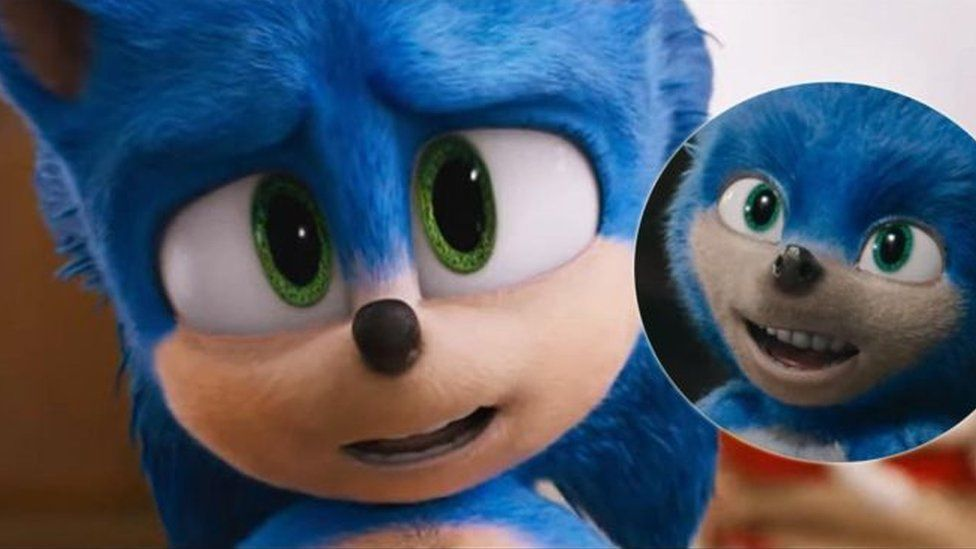 Sonic's teeth before (right) and after