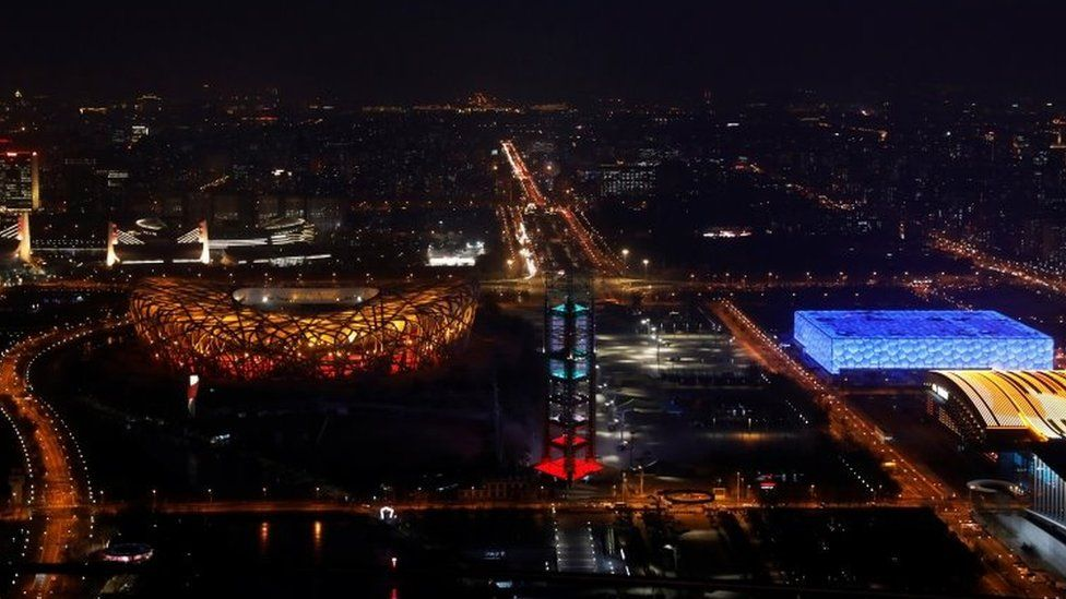 A view of the National Stadium and the National Aquatics Center a year ahead of the opening of the 2022 Winter Olympic Games, in Beijing