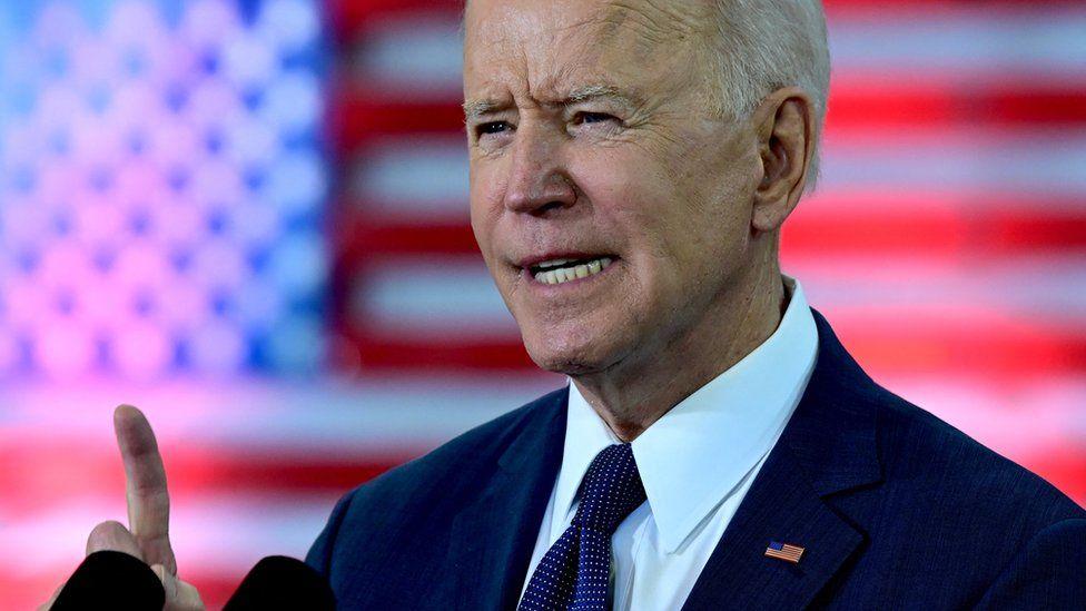 US President Joe Biden speaks in Pittsburgh, Pennsylvania, on March 31, 2021.