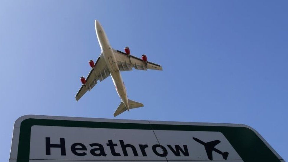 Aeroplane taking off from Heathrow Airport