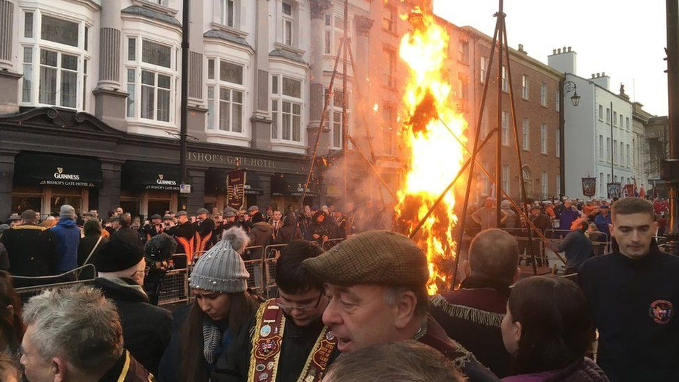 An effigy of Lt Col Robert Lundy, known as Lundy the Traitor, is burned at the event