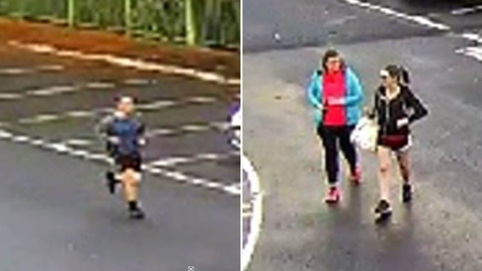 Two CCTV images with three people