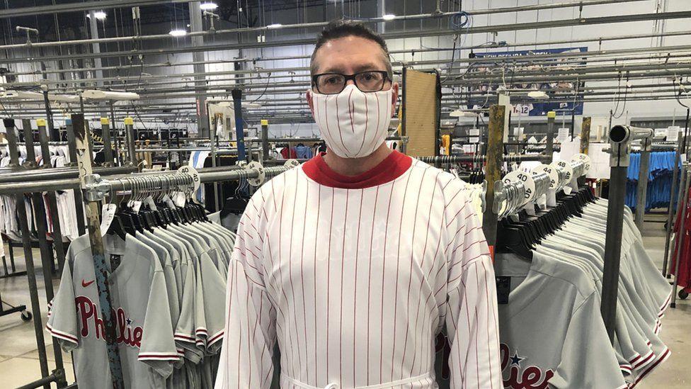 Fanatics used material to make baseball uniforms for masks