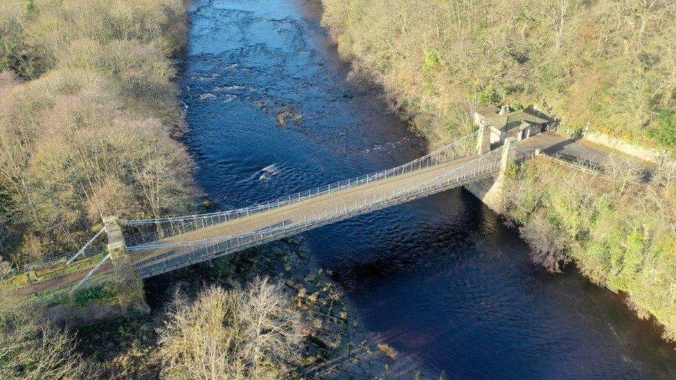Whorlton Bridge pictured from above