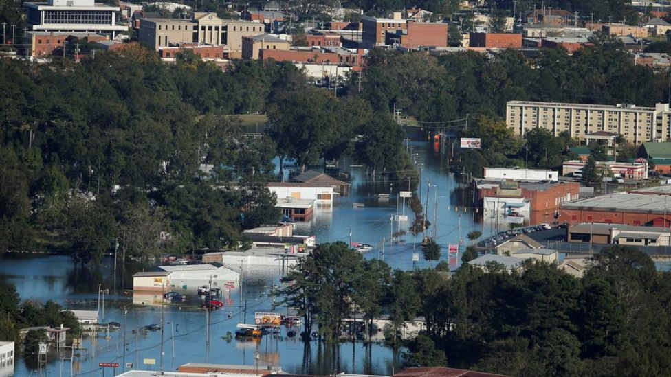 An aerial view shows flood waters after Hurricane Matthew in Lumberton, North Carolina October 10, 2016.