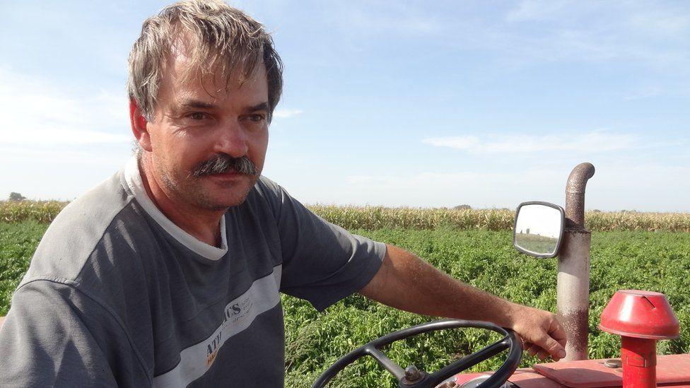 Pepper farmer Zoltan Varga near Hungarian border at Roszke