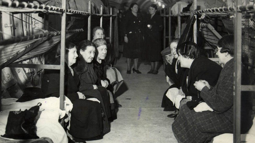 Interior view of unfinished Underground station at Bethnal Green in use as air raid shelter, Spring 1941 - March 1945
