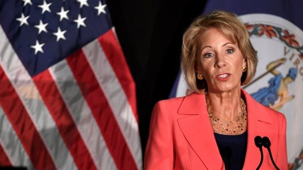 US Education Secretary Betsy DeVos speaks at George Mason University in Arlington, Virginia.