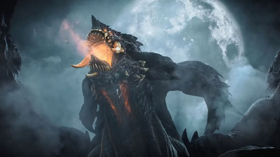 A giant demon breathes fire in front of the moon