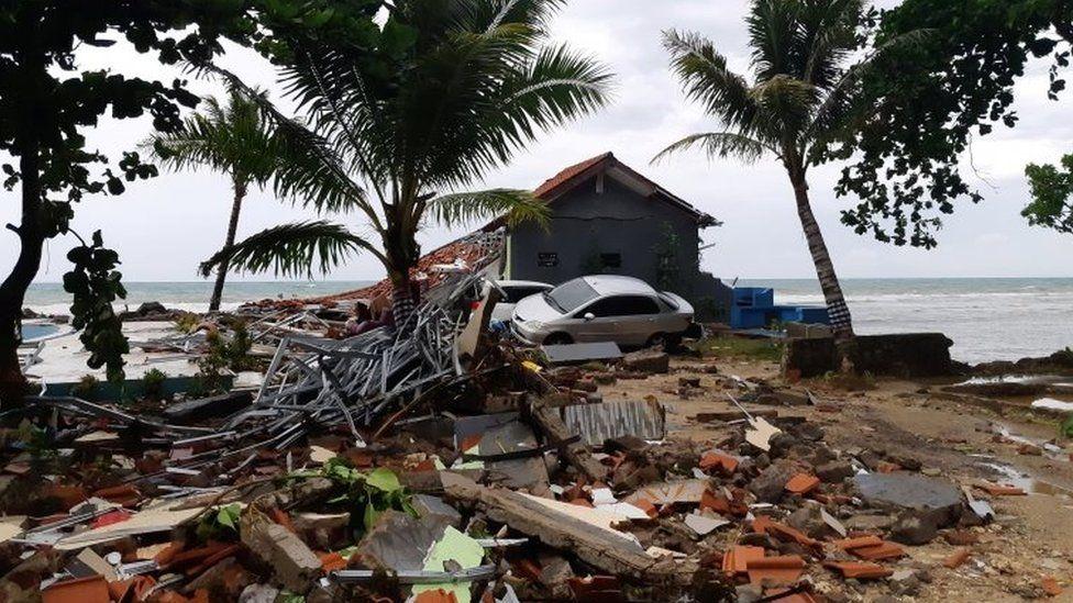 Debris on Carita beach in Pandeglang, Banten province, Indonesia