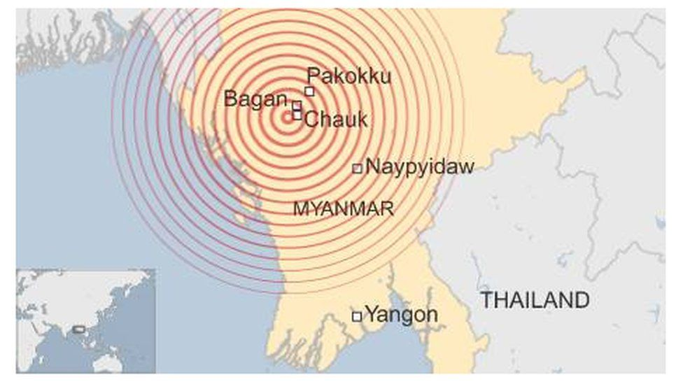 Map Myanmar earthquake