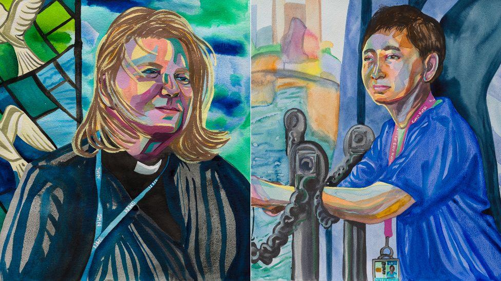 Reverend Jackie, Hospital Chaplain, 2020 (detail) and Shari, Intensive Care Nurse, 2020 (detail)