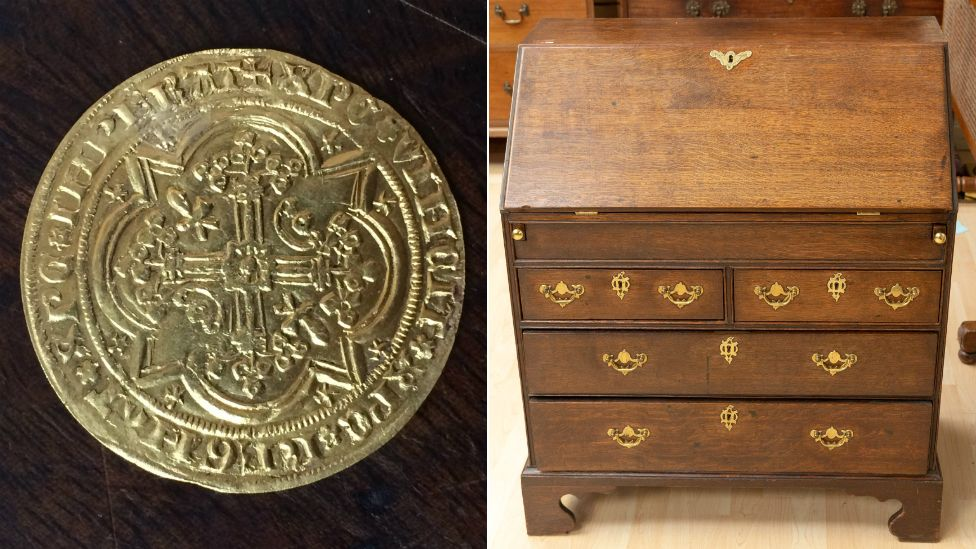 The 14th Century gold coin was discovered inside one of three secret drawers in a wooden bureau