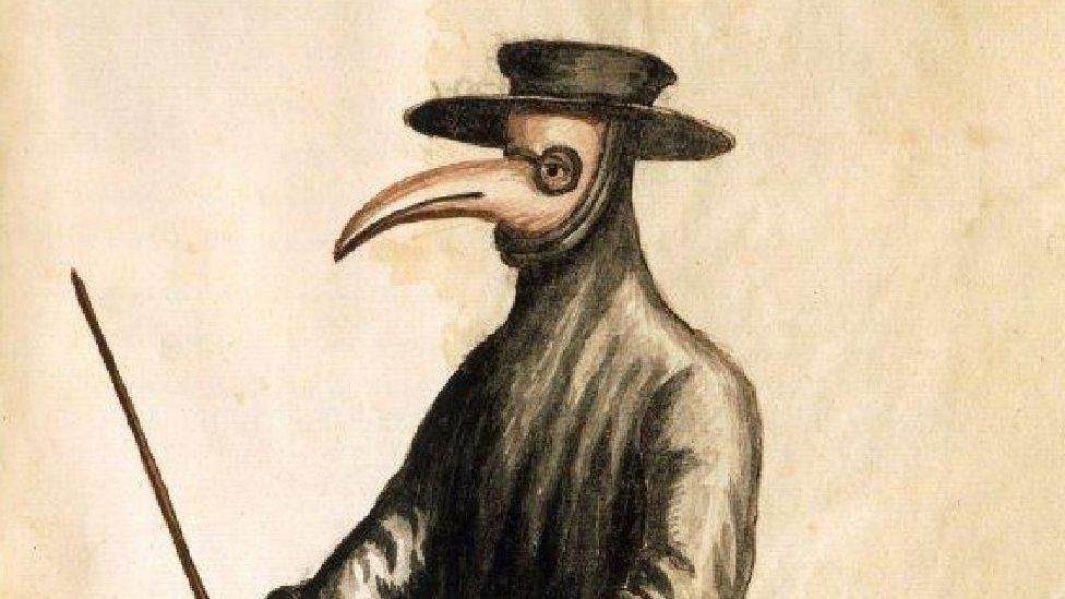Watercolour of a plague doctor
