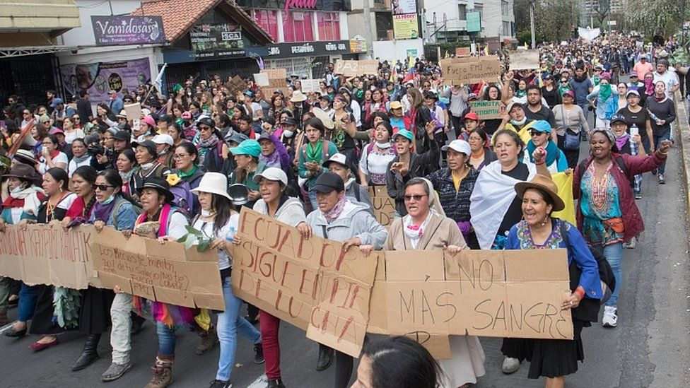 Women march through the streets of Quito to ask for peace and to repeal the economic measures taken by Lenin Moreno on October 12, 2019 in Quito