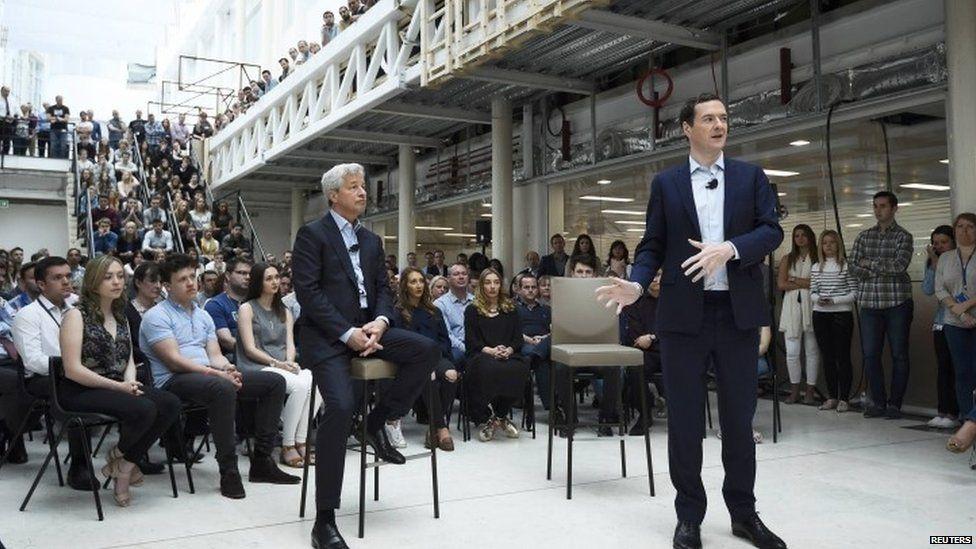 George Osborne addressing JP Morgan staff alongside its chief executive Jamie Dimon