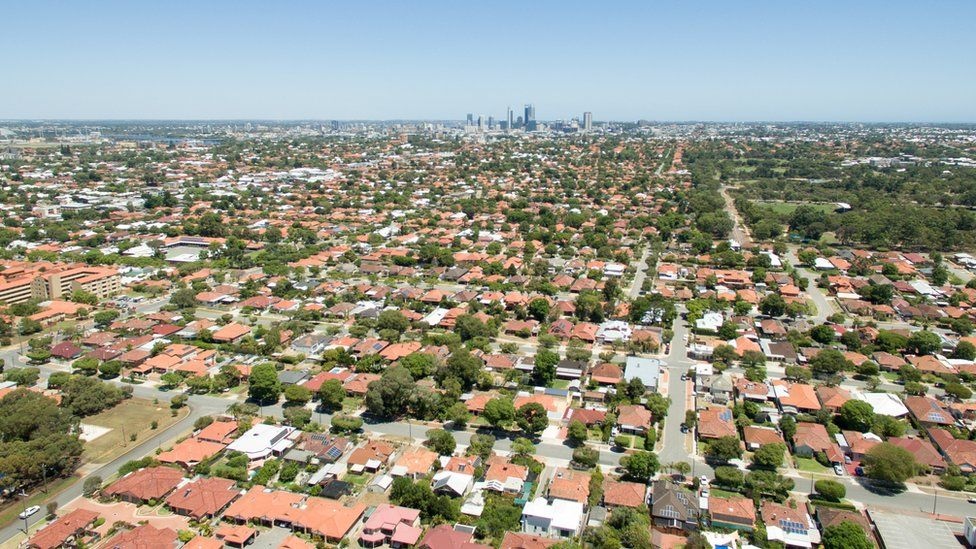 Aerial shot of Perth city and its surrounding suburbs