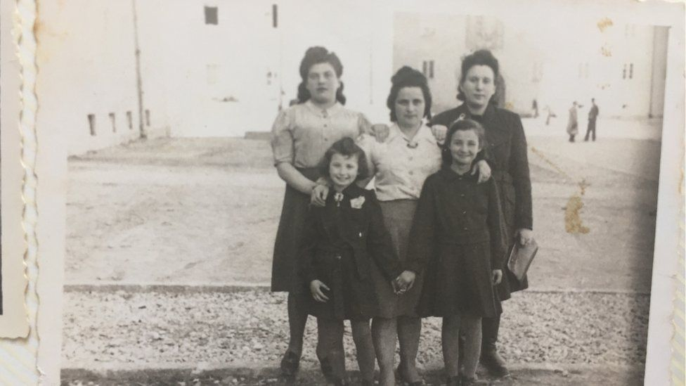 Tova Barkai, front right, with four others pictured post-war