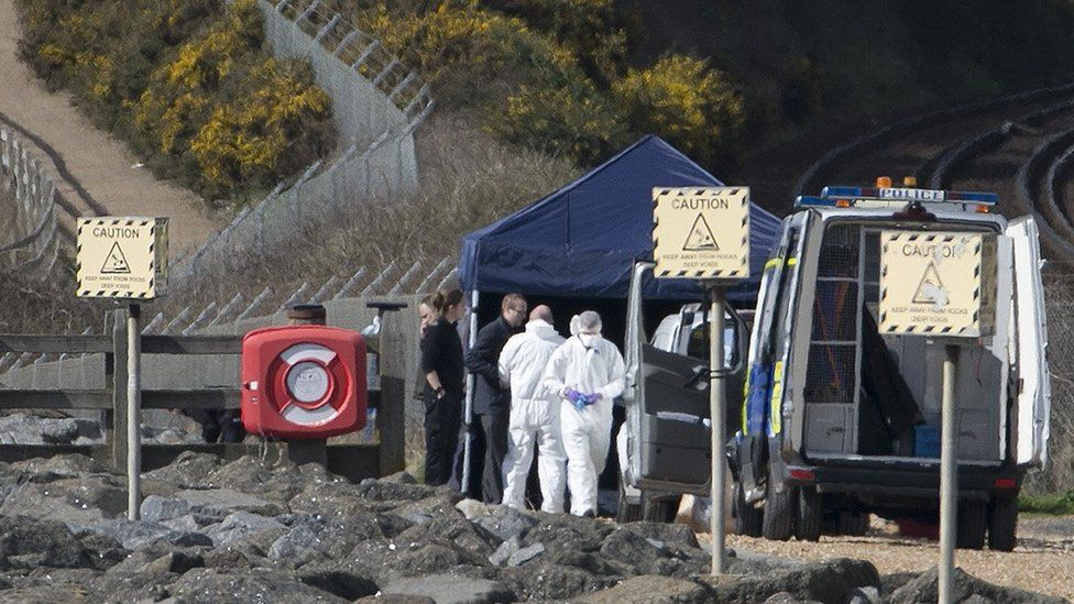 Police at the murder scene in St Leonard's-on-Sea