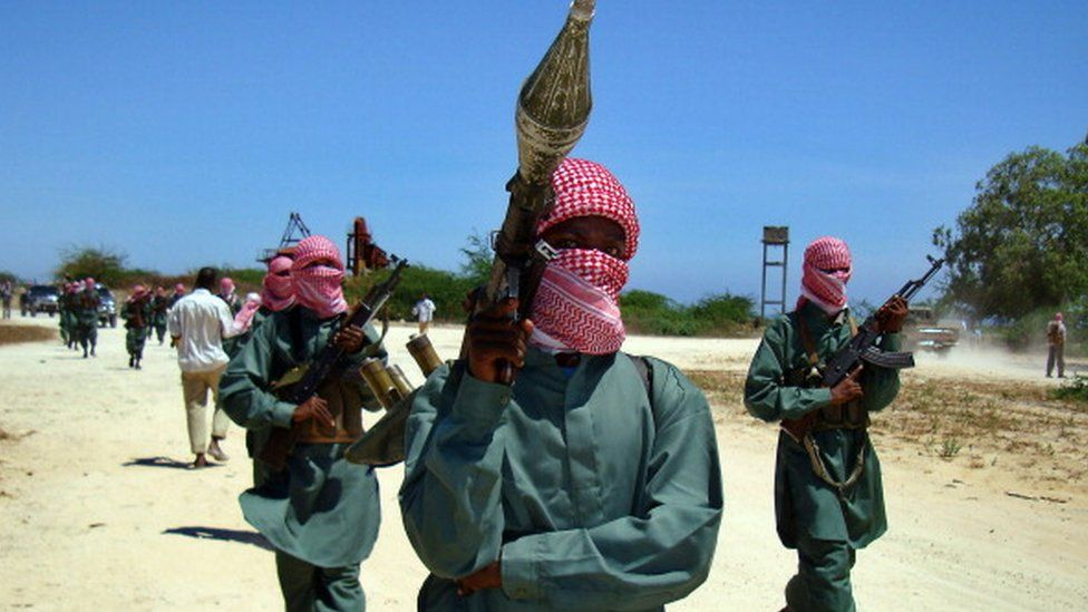 A picture taken on November 4, 2008 shows Islamist fighters from the hard-line Shabab movement taking part in a military drill at a camp in the northern outskirts of Mogadishu