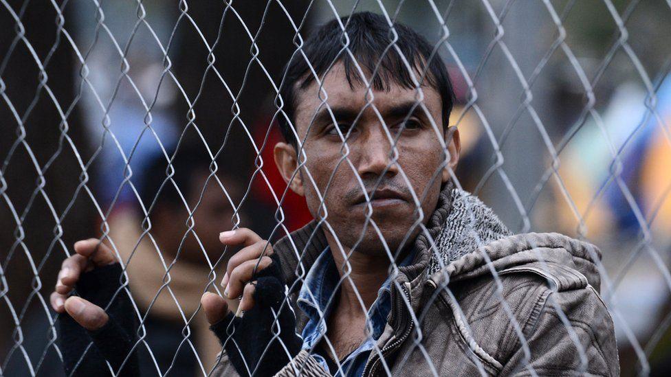 A migrant in Greece