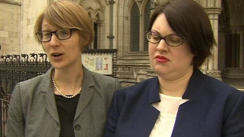 Clare Phipps (left) and Sarah Cope outside the High Court