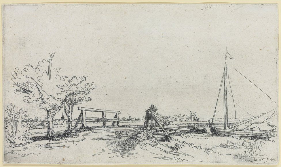An etching by Rembrandt called Six's Bridge