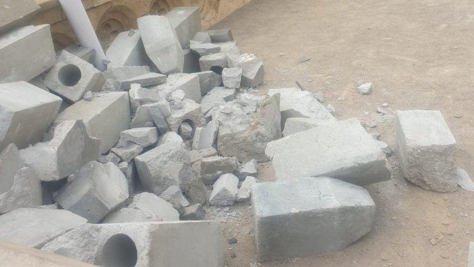 The destroyed gravestones